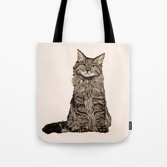 Maine Coon sitting cat portrait cute cat lady gift idea for cat owner cat lover animal pet friendly  Tote Bag