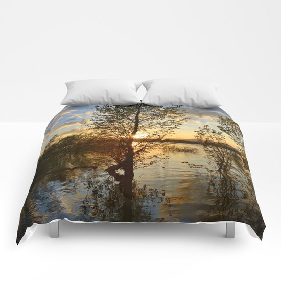 """""""Sun through the trees"""". Spring sunset. Comforters"""
