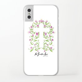 No Greater Love Floral Cross Clear iPhone Case