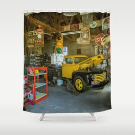 Tow Truck Garage at Restored Service Station on Route 66 in Missouri Shower Curtain