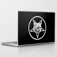 pentagram Laptop & iPad Skins featuring Catagram - Cat Face On Pentagram White on Black by MagicCircle