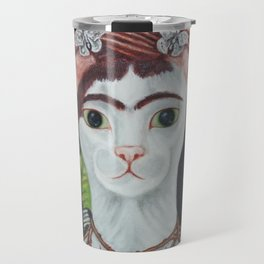 Frida the cat: Self-Portrait with Thorn Necklace and Hummingbird Travel Mug
