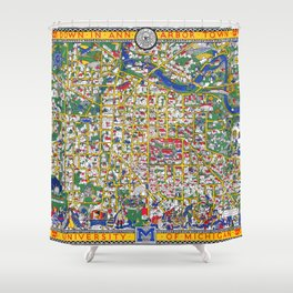 ANN ARBOR University map MICHIGAN dorm Shower Curtain