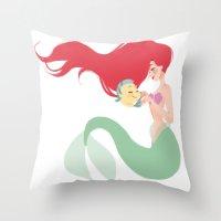 ariel Throw Pillows featuring Ariel by punziella
