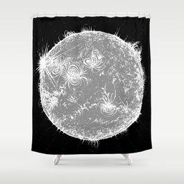 Large Sun Print, monochrome star design by Little Lark Shower Curtain