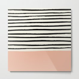 Peach x Stripes Metal Print