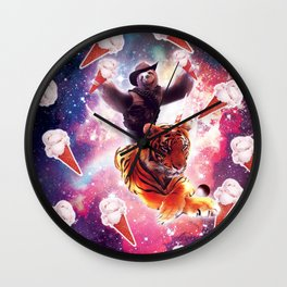 Cowboy Space Sloth On Tiger Unicorn - Ice-Cream Wall Clock