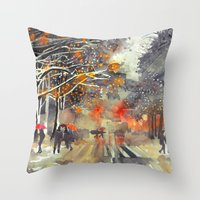takmaj Throw Pillows featuring WINTER IN THE CITY by takmaj
