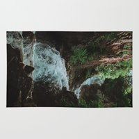 alaska Area & Throw Rugs featuring Alaska Waterfall by Leah Flores