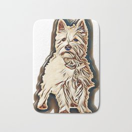 West Highland White Terrier (5 months) in front of white background        - Image Bath Mat