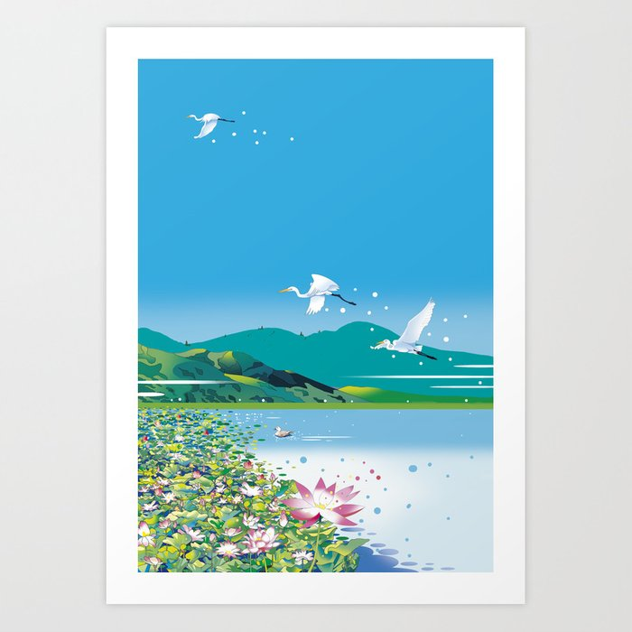 Water lily pond and heron Art Print