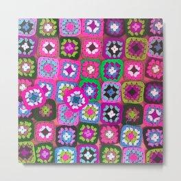 Pink crochet vintage granny squares craft Metal Print