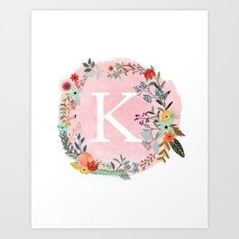 Flower Wreath with Personalized Monogram Initial Letter K on Pink Watercolor Paper Texture Artwork Art Print