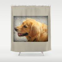 golden retriever Shower Curtains featuring Happy Golden Retriever  by MyLove4Art
