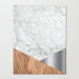 White Marble Wood & Silver #157 Canvas Print