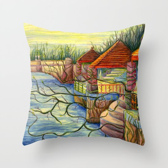 Pulling You In - Colored Pencil Drawing Throw Pillow