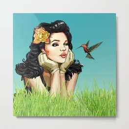 Retro Pinup Girl Smooching & Hummingbird Metal Print
