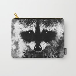 raccoon watercolor splatters black white Carry-All Pouch