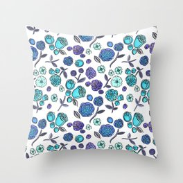 Blue Velvet Roses Throw Pillow