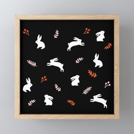 Bunny pattern in white, black and pink Framed Mini Art Print