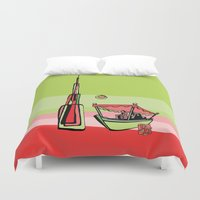 wiz khalifa Duvet Covers featuring Abra by the Burj Khalifa by Dubai Doodles