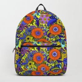 Psychedelic Floral in orange yellow and violet Backpack