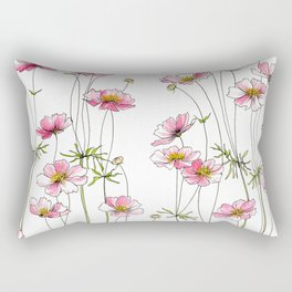 Pink Cosmos Flowers Rectangular Pillow