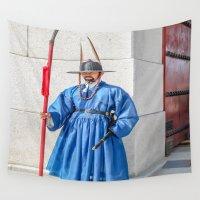 korea Wall Tapestries featuring Palace Guard, Seoul, S. Korea by Jennifer Stinson