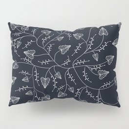 Delicate leaves on a black background . Pillow Sham