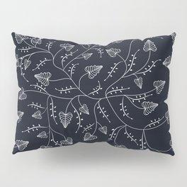 Delicate seamless floral pattern leaves dark black liana Pillow Sham