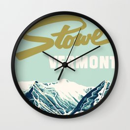 2021 Ski Stowe Vermont Vintage Poster  Wall Clock