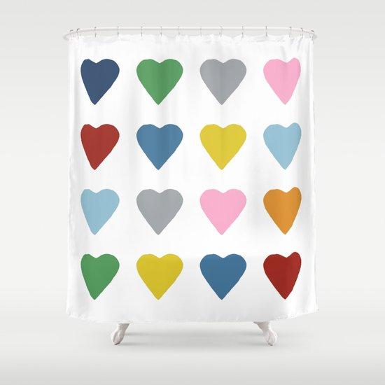 16 Hearts Shower Curtain