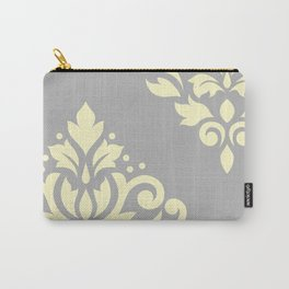 Scroll Damask Art I Yellow on Grey Carry-All Pouch