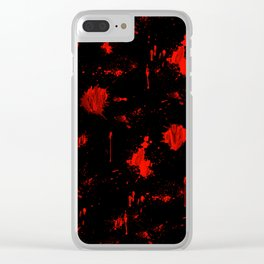 Red Paint / Blood splatter on black Clear iPhone Case