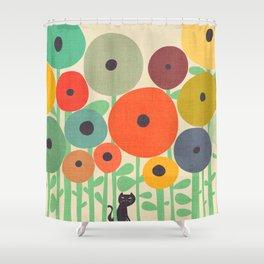 Cat in flower garden Shower Curtain