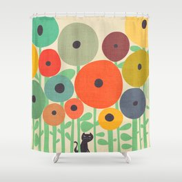 Cat in flower garden Shower Curtain