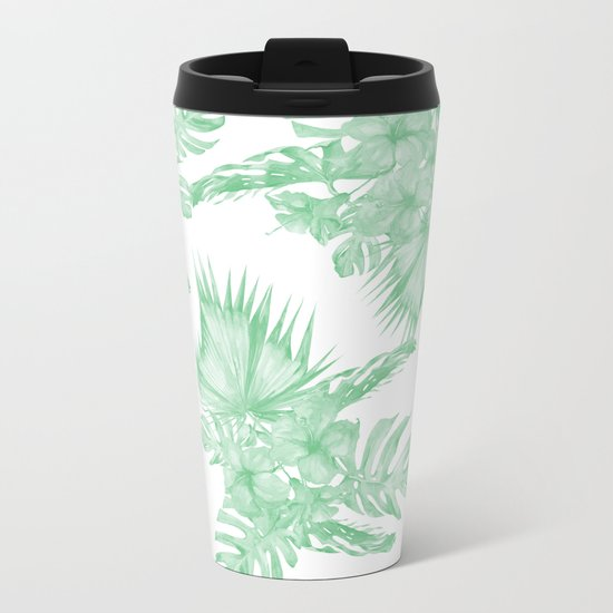 Island Tropical Green White Jungle Metal Travel Mug