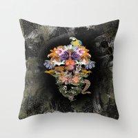 animal skull Throw Pillows featuring ANIMAL SKULL by sametsevincer