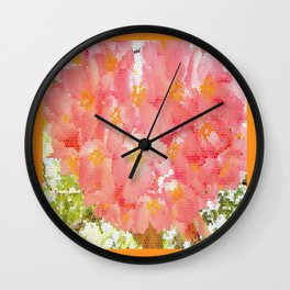 Mexico Blossom Pink & Yellow Flower Wall Clock