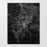 cincinnati Canvas Prints featuring Cincinnati map by Line Line Lines