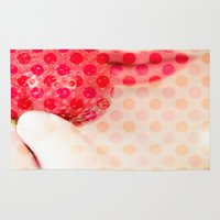 strawberry Area & Throw Rugs featuring Strawberry by Maite Pons
