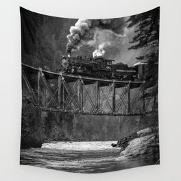 Steam Engine on a trestle river black and white photograph / art photography  Wall Tapestry