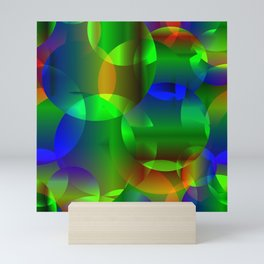 Abstract soap  from space neon bright circles and bubbles on a shiny background. Mini Art Print