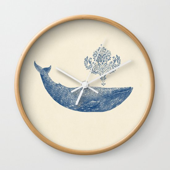 The Damask Whale  Wall Clock