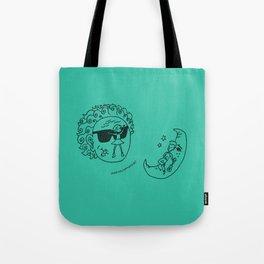 Sun & Moon, Aqua Tote Bag