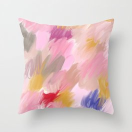 Abstract in pink and gold Throw Pillow