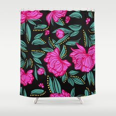 Fuscia Floral Shower Curtain