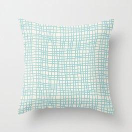 Blue Scribbles Pattern 06 Throw Pillow