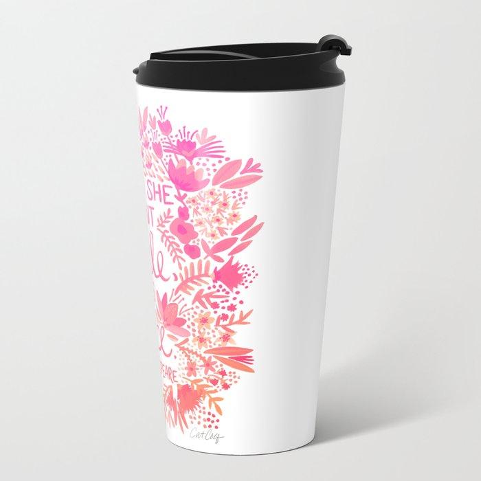 Little & Fierce – Pink Ombré Metal Travel Mug