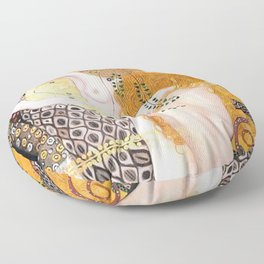 The Mermaids, Water Serpents floral maritime painting by Gustav Klimt Floor Pillow